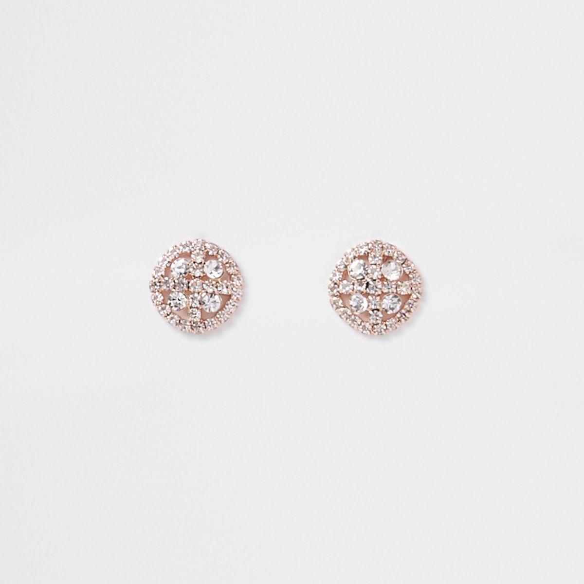 Rose gold tone circle rhinestone stud earrings