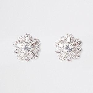 Silver tone diamante stud earrings