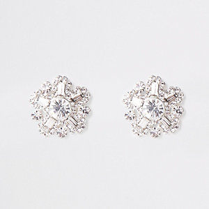 ​Silver tone rhinestone stud earrings