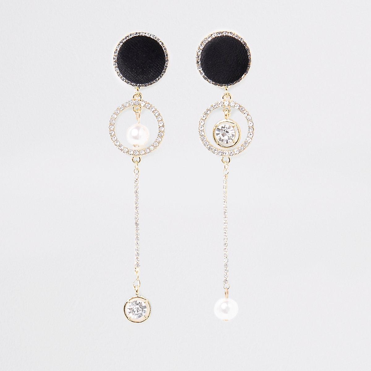Gold tone velvet asymmetric drop earrings