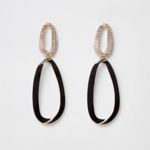 Gold tone curved hoop drop earrings