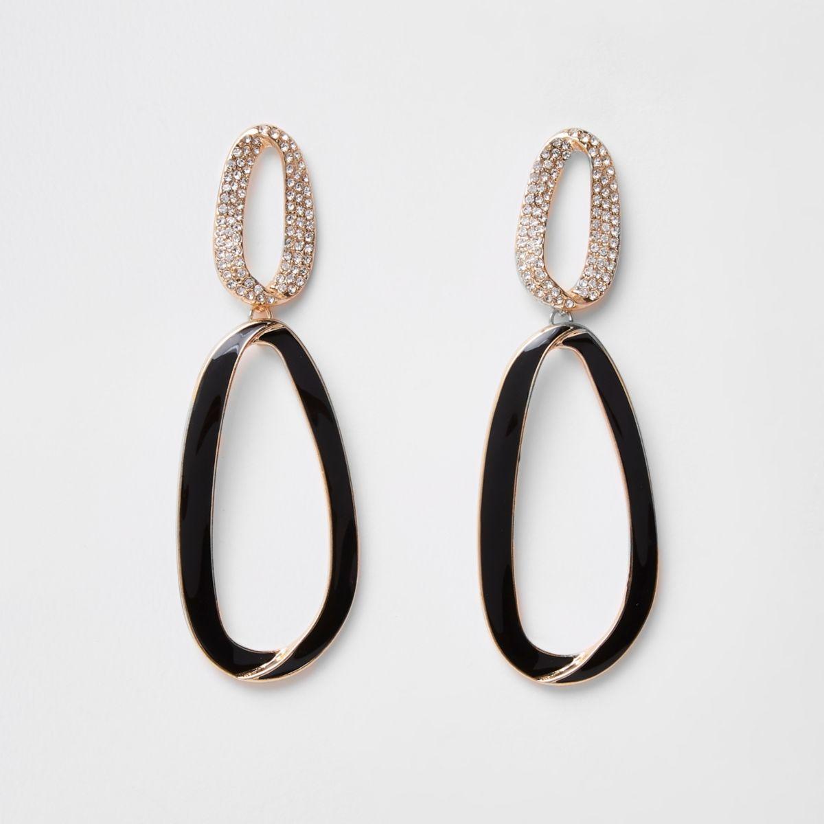 Gold tone black enamel hoop drop earrings