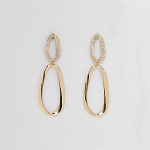 Gold tone pearl curved hoop drop earrings