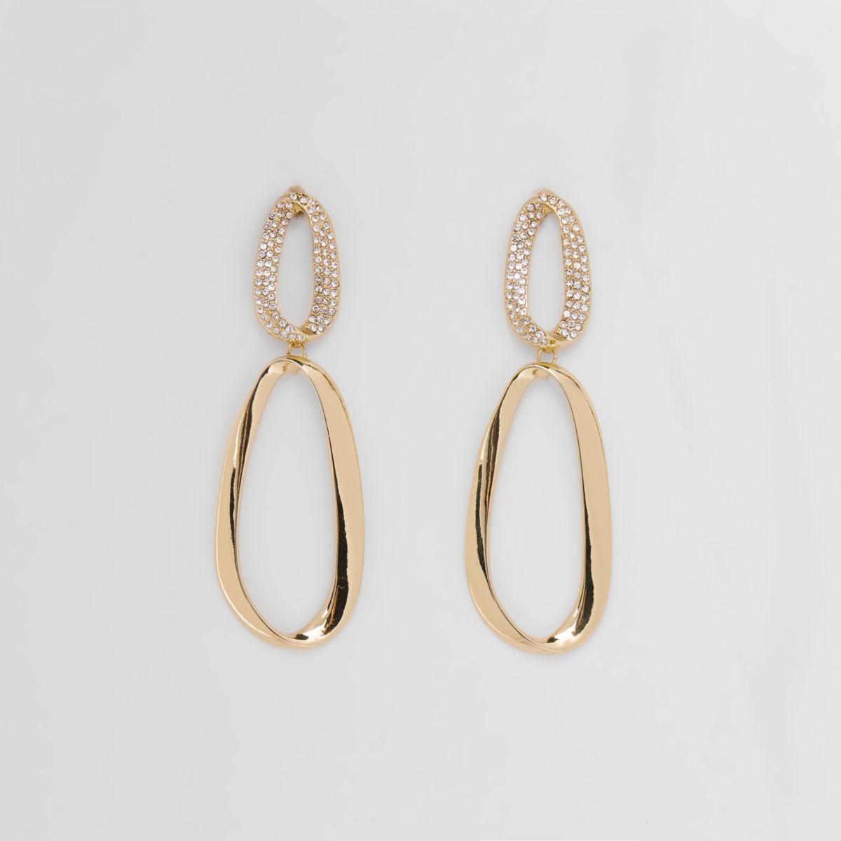 Gold tone pearl curved hoop drop earrings