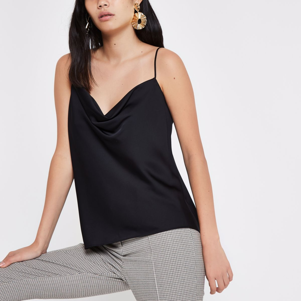 Black satin cowl neck cami top