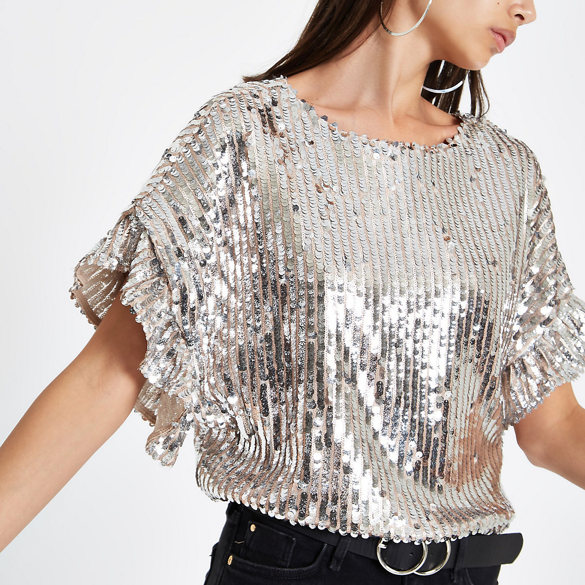 Silver sequin embellished frill sleeve top