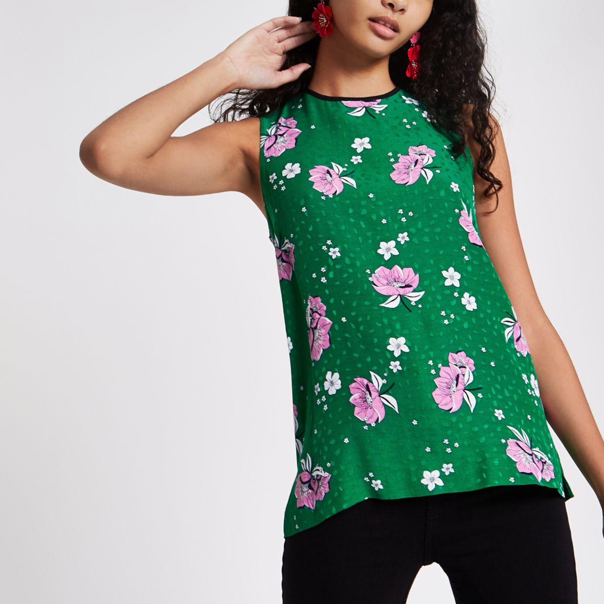 Green floral tank top
