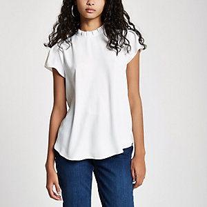 White frill neck shell top