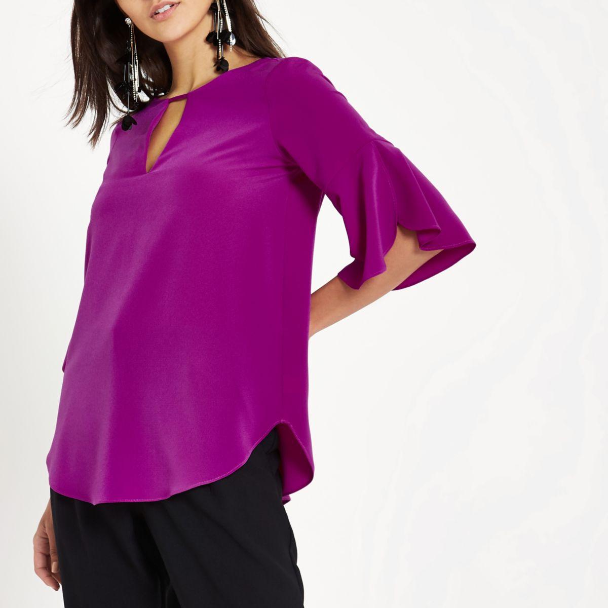 Purple frill sleeve blouse