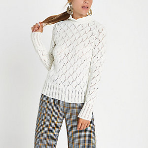 Cream knit turtle neck sweater