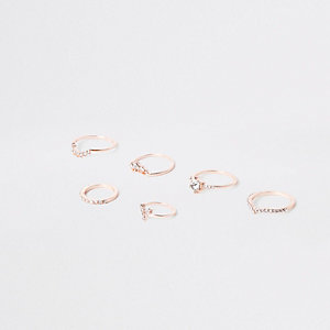 Rose gold tone rhinestone pave ring pack