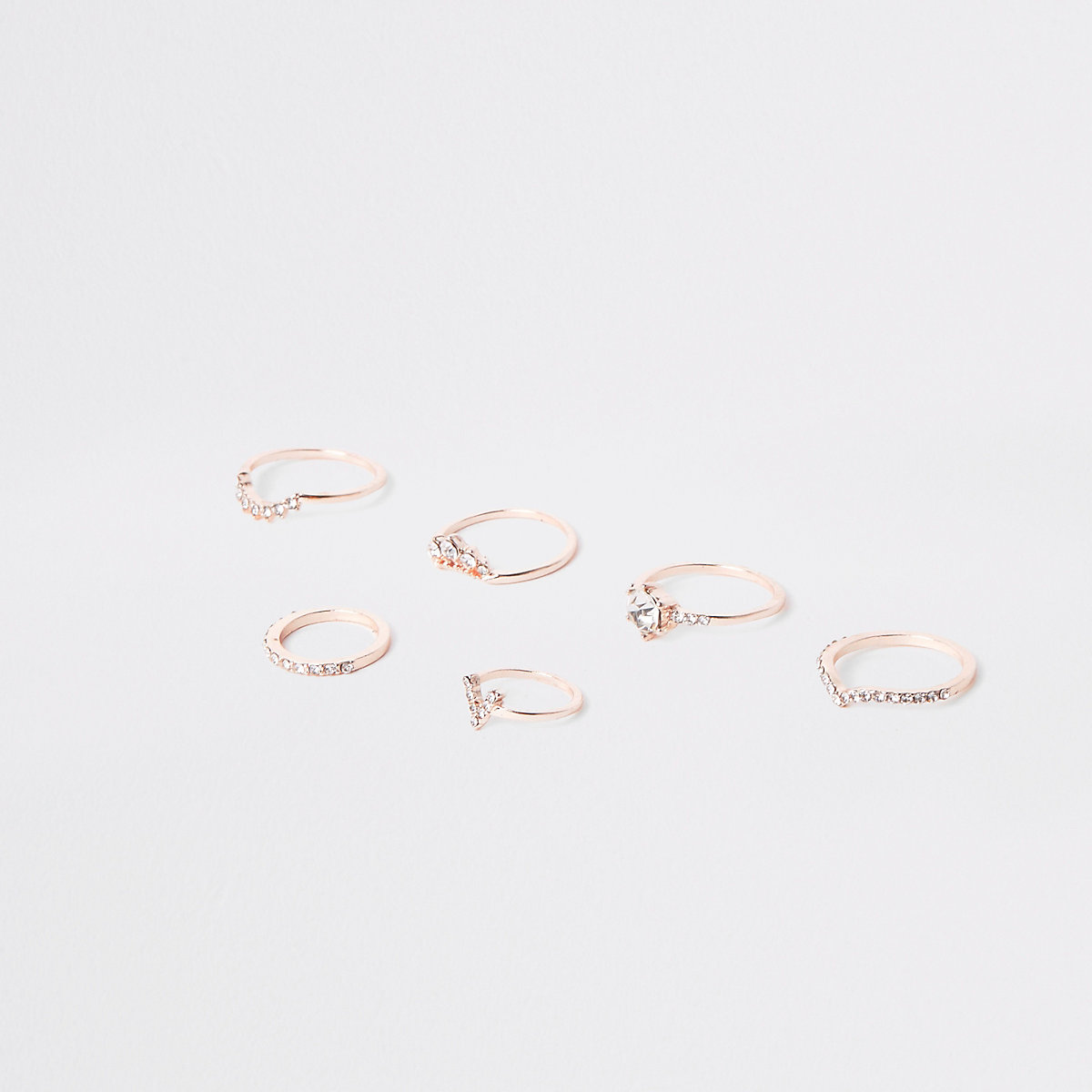Rose gold tone diamante pave ring pack