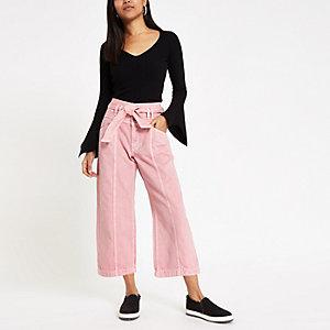 Petite – Pinker Jeans-Hosenrock mit Gürtel