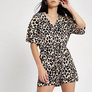 Brown leopard print plisse belted playsuit
