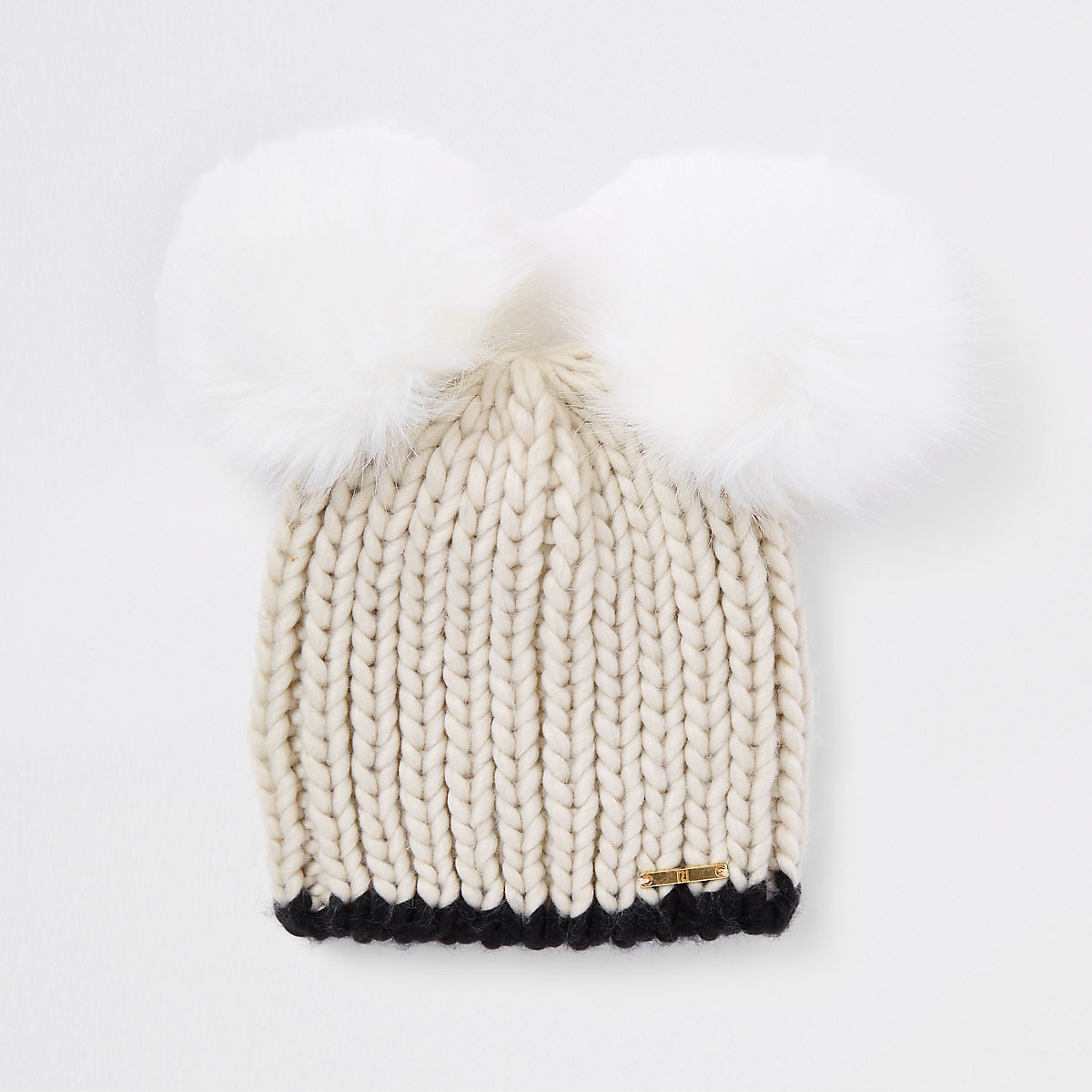 Cream faux fur double pom pom beanie