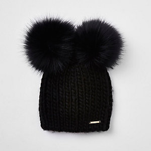 Black faux fur double pom pom beanie d986d1062ed