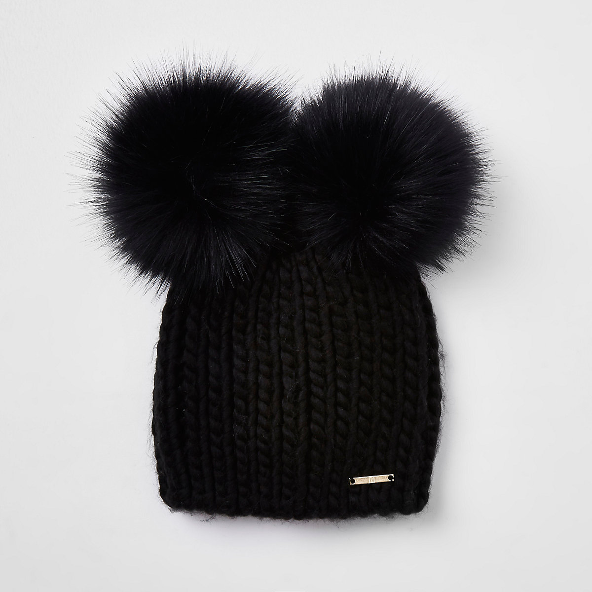 Black faux fur double pom pom beanie - Hats - Accessories - women 245483b56