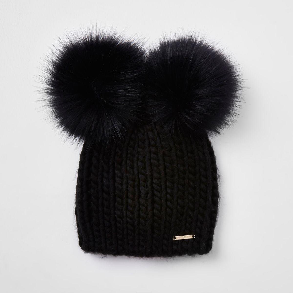Black faux fur double pom pom beanie