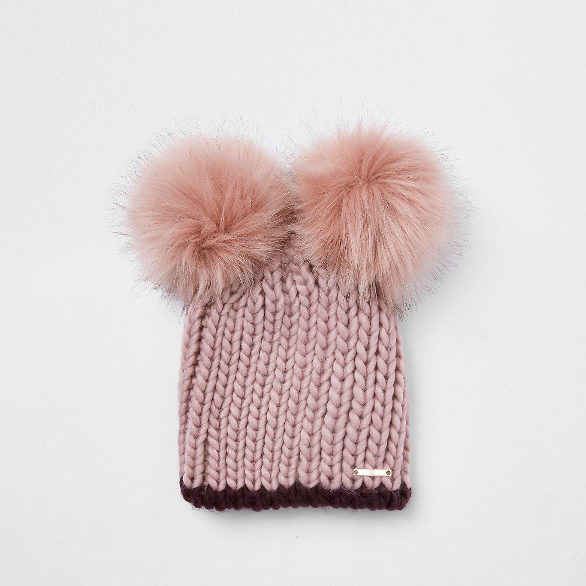 Pink faux fur double pom pom beanie