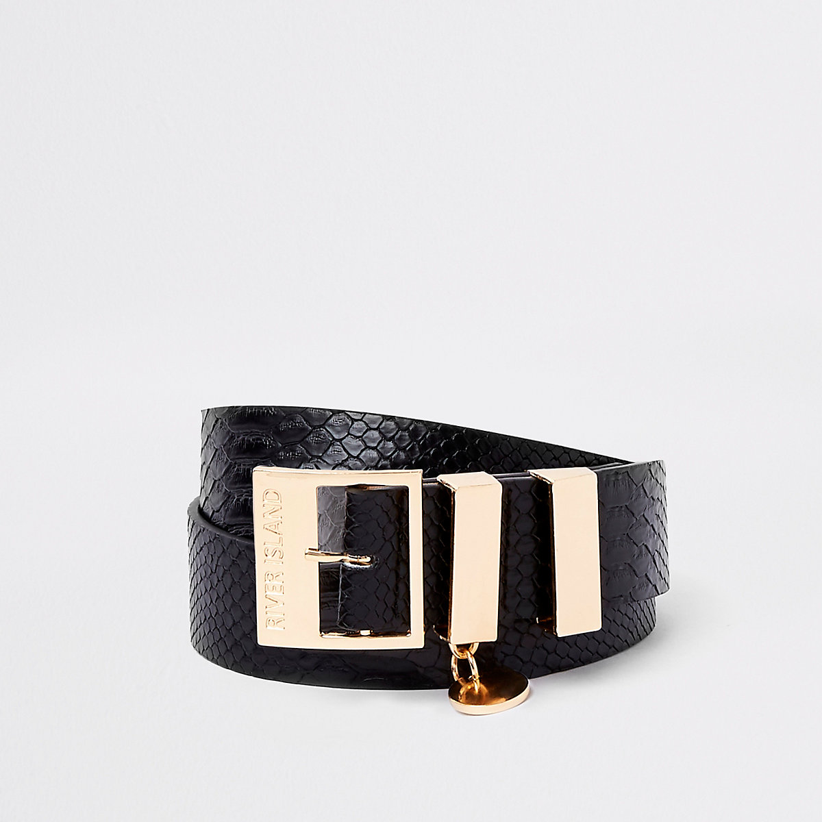 Black croc embossed buckle belt
