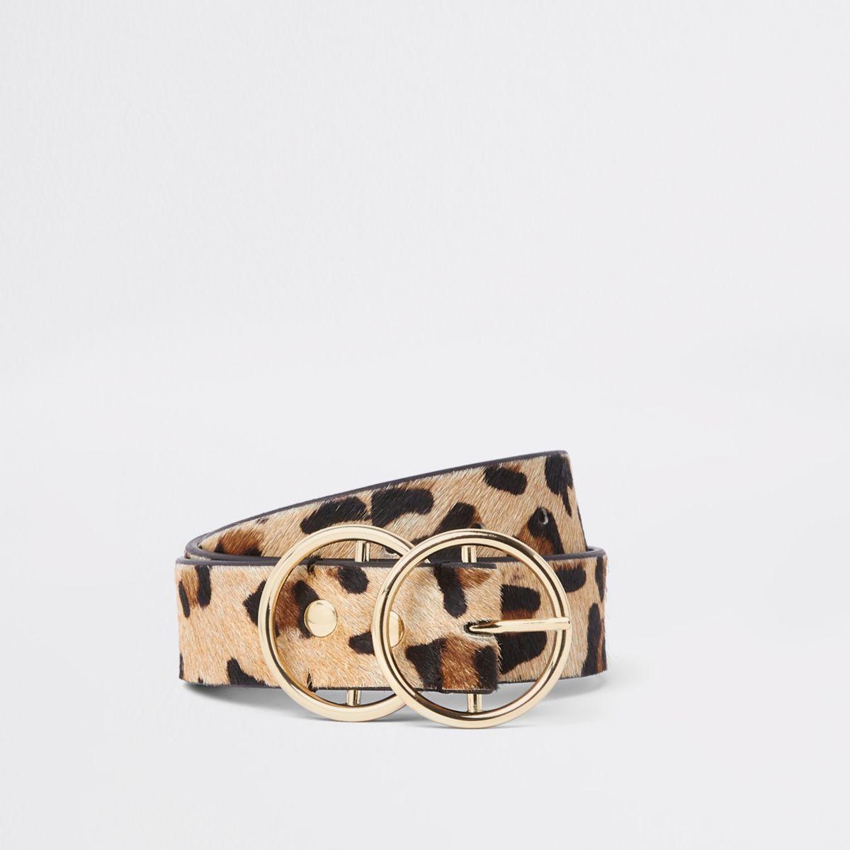 Beige leather leopard print double ring belt
