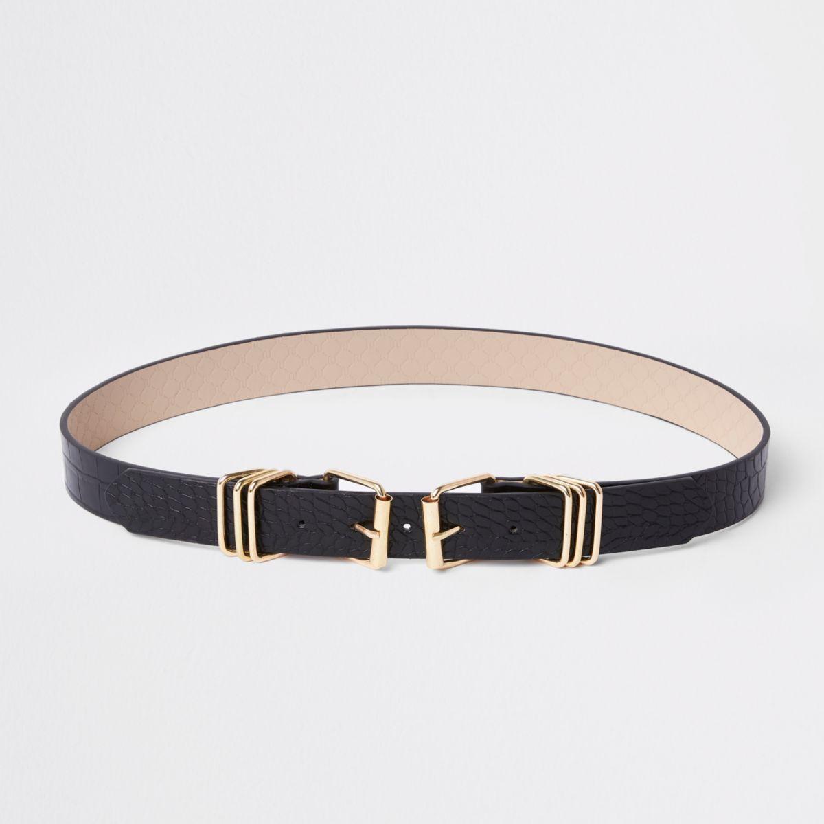 Black croc double buckle jeans belt
