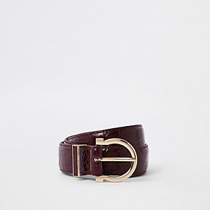 Dark red croc layered jeans belt