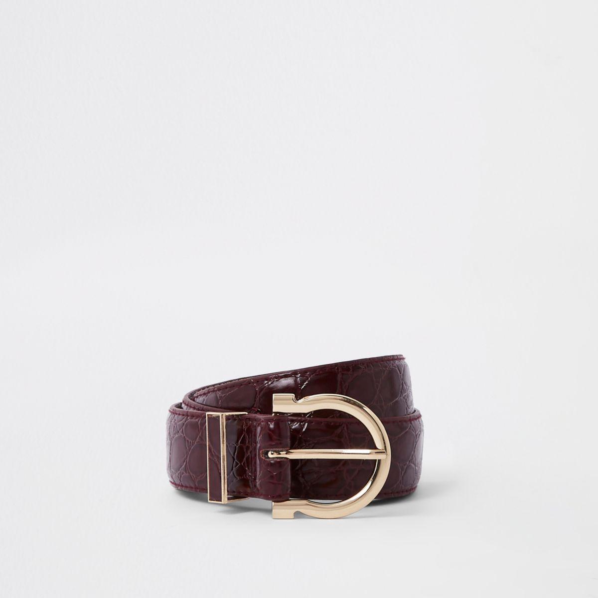 Dark red croc layered jeans belt