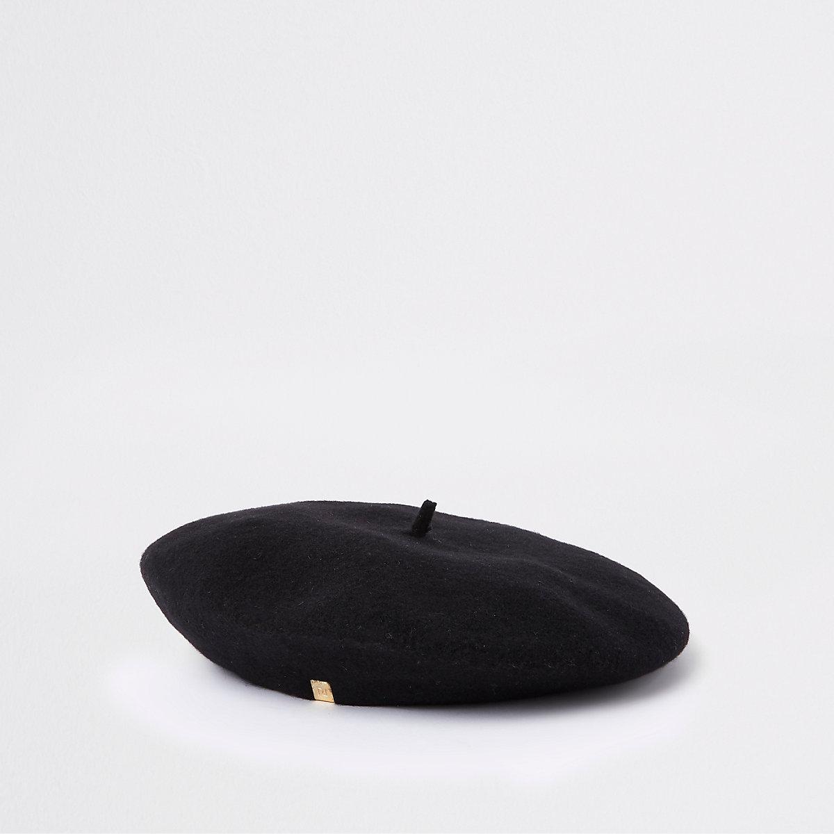Schwarze Baskenmütze aus Filz
