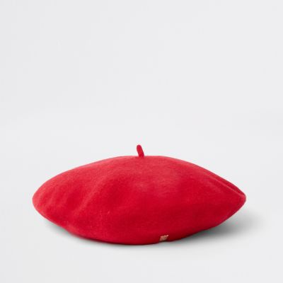 Red Felt Beret by River Island
