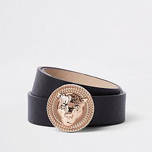 Zwarte jeansriem met leeuwenkop