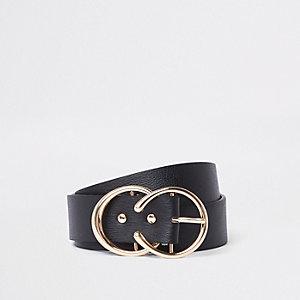 Zwarte riem met twee hoefijzervormige gespen