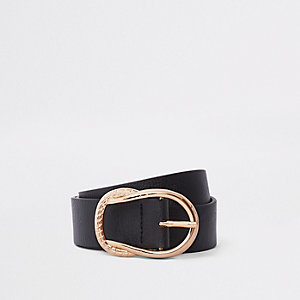 Ceinture noire à boucle façon nœud de corde