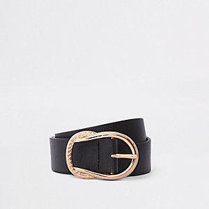 Zwarte jeansriem met gesp met touweffect