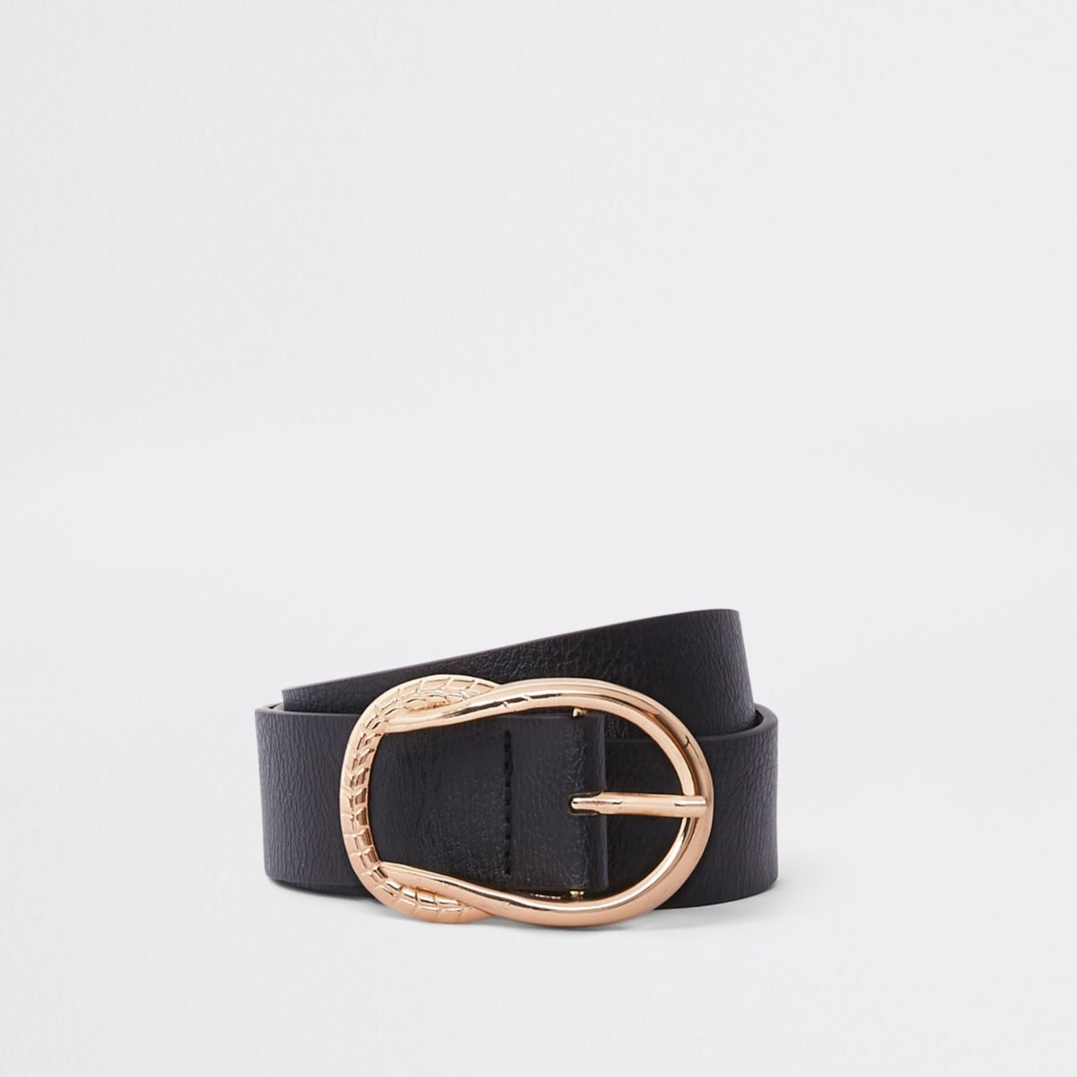 Black rope knot detail buckle jeans belt