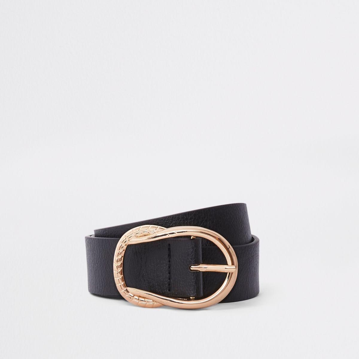 Black rope knot detail buckle jeans belt