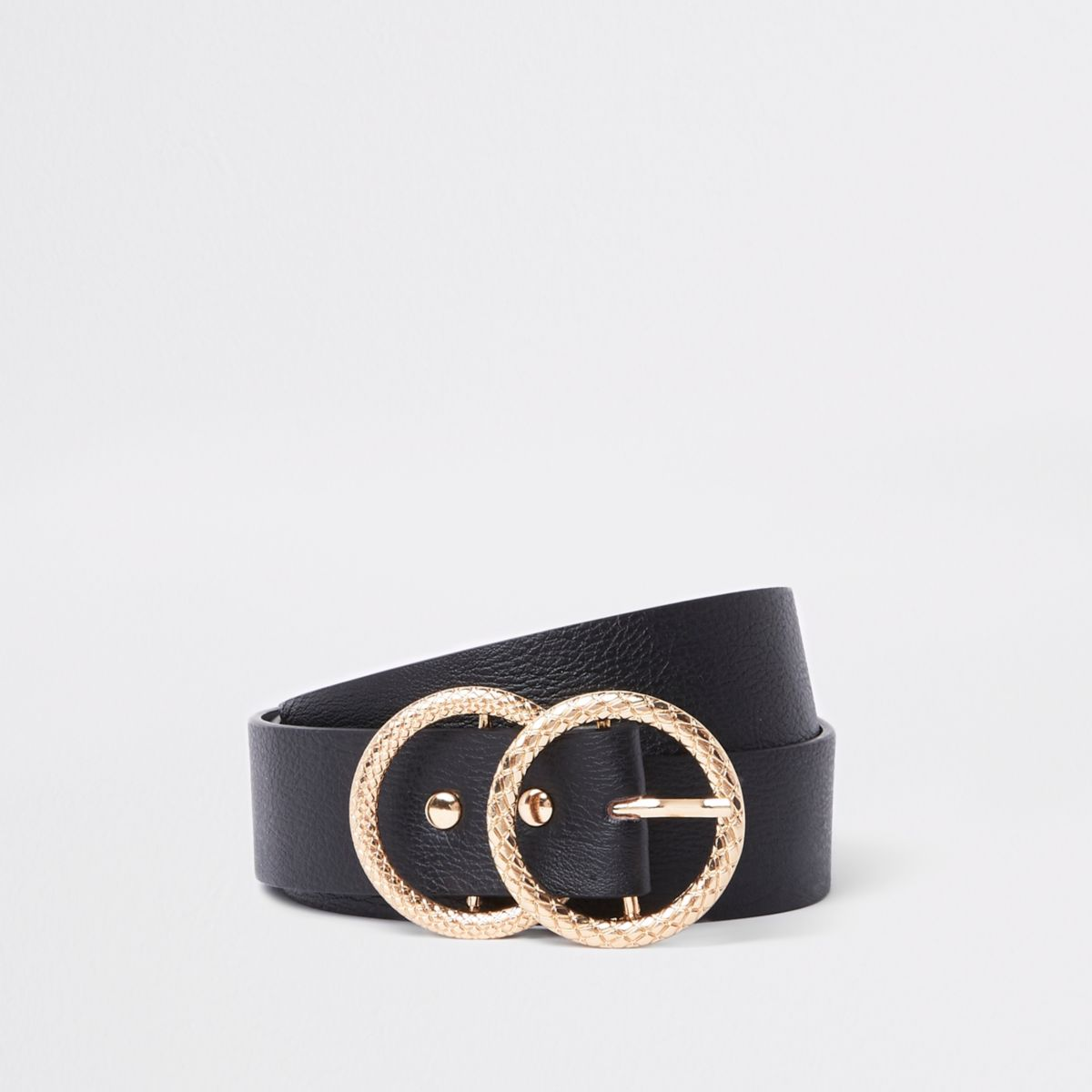 Zwarte riem met textuur en goudkleurige dubbele ring