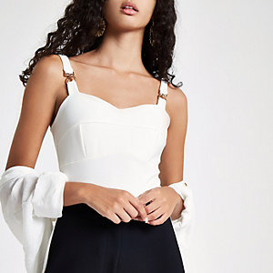 White buckle detail cami bodysuit