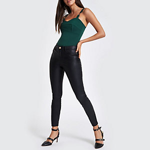 Green ribbed buckle cami bodysuit