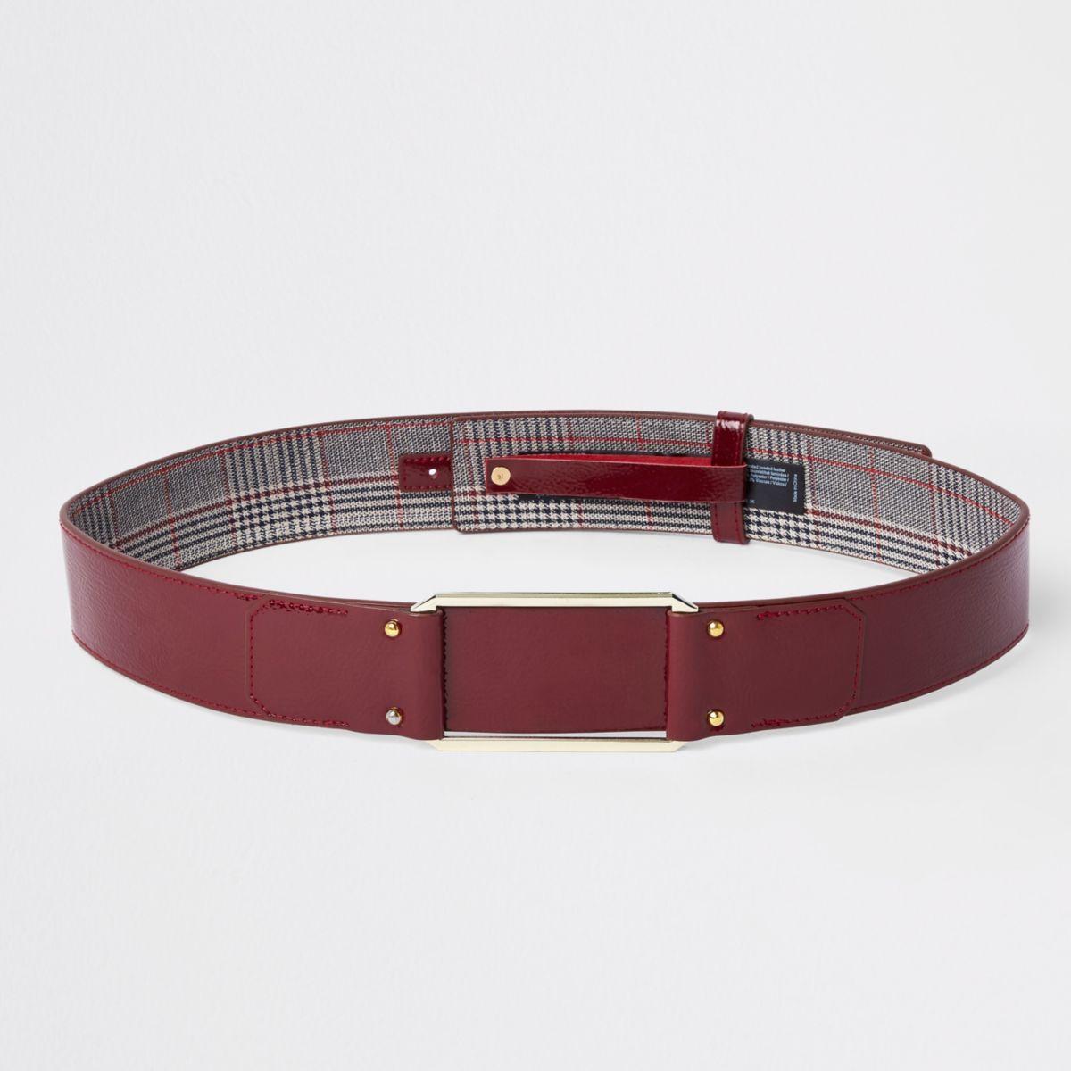 Dark red square buckle waist belt