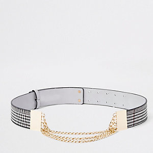 Grey check snake chain waist belt