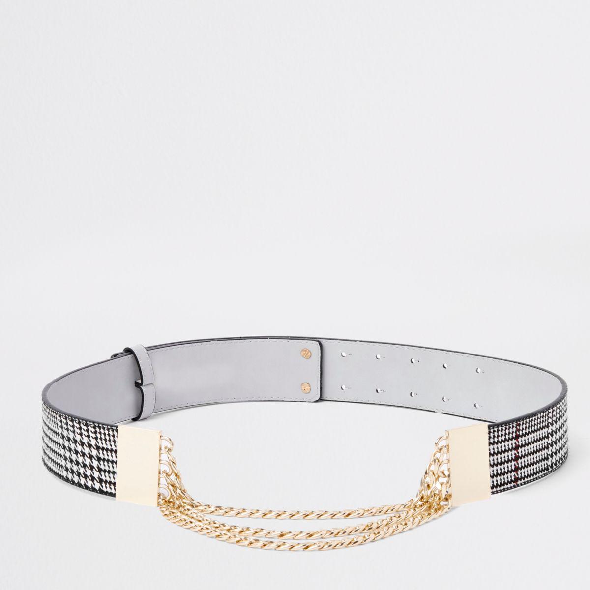 Grey check snake chain waist belt