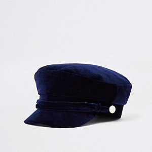 Navy velvet rope trim baker boy hat