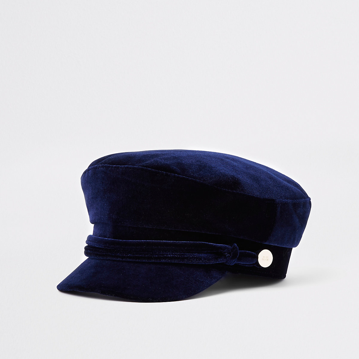 Navy velvet rope trim baker boy hat