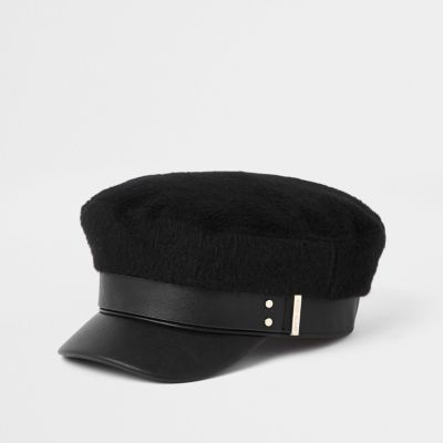 Black Brushed Baker Boy Hat by River Island