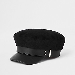 811835a7306 Black brushed baker boy hat