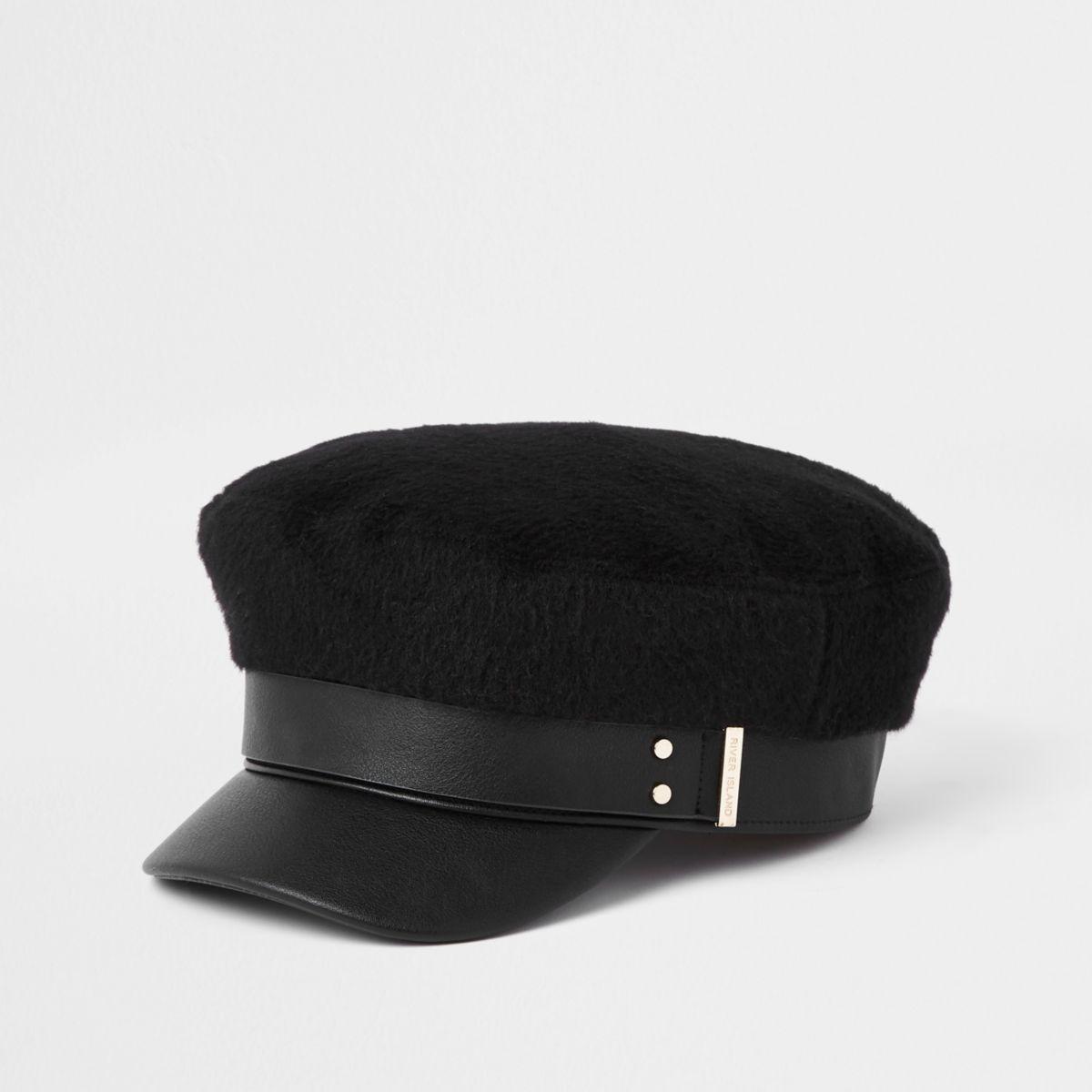 Black brushed baker boy hat