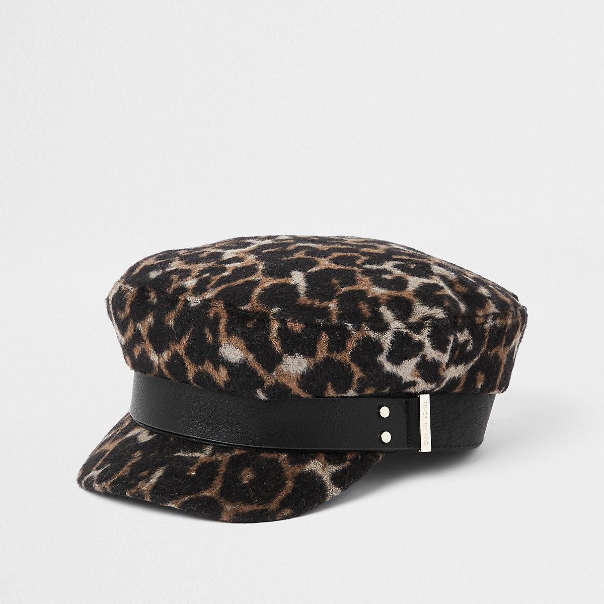 Brown leopard print studded baker boy hat