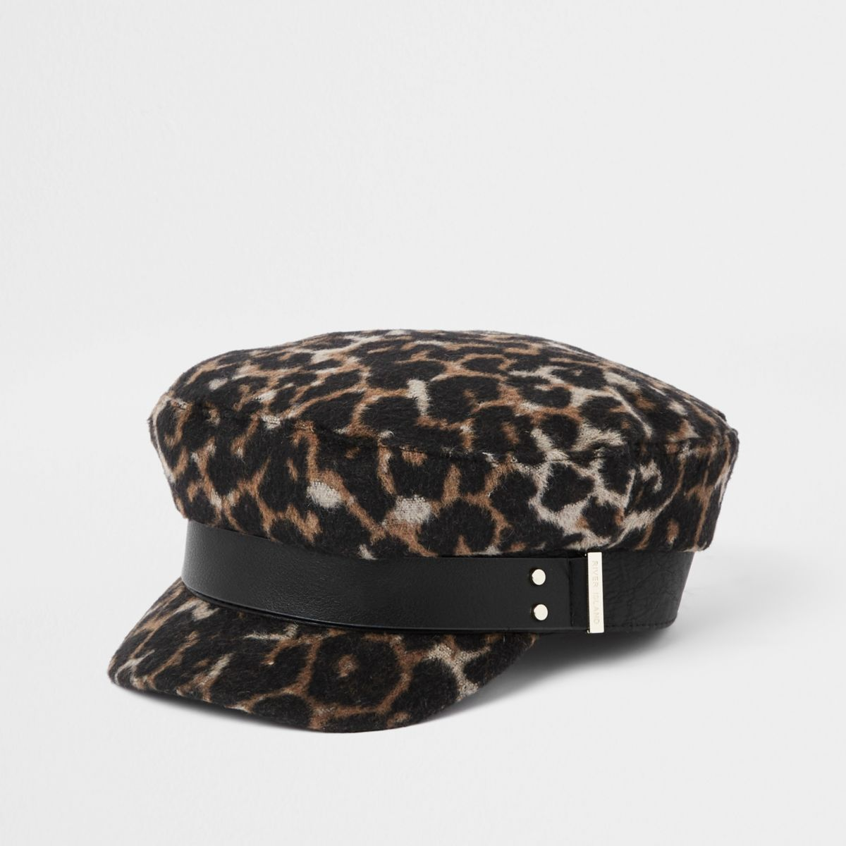 Brown leopard print studded baker boy hat