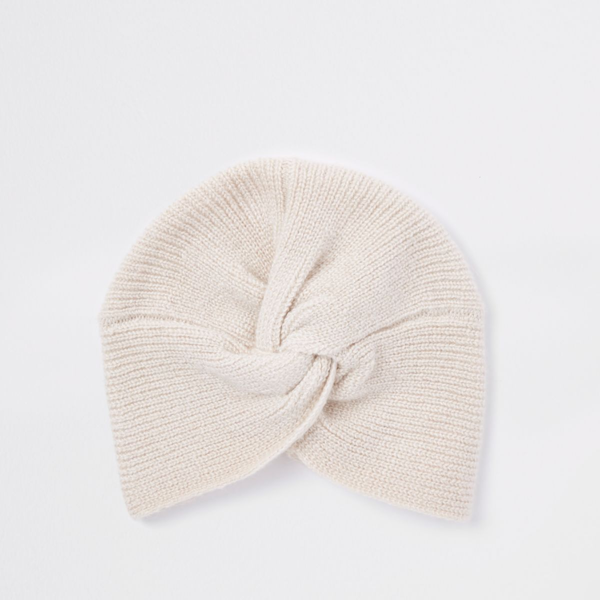Beige knit twist turban headband